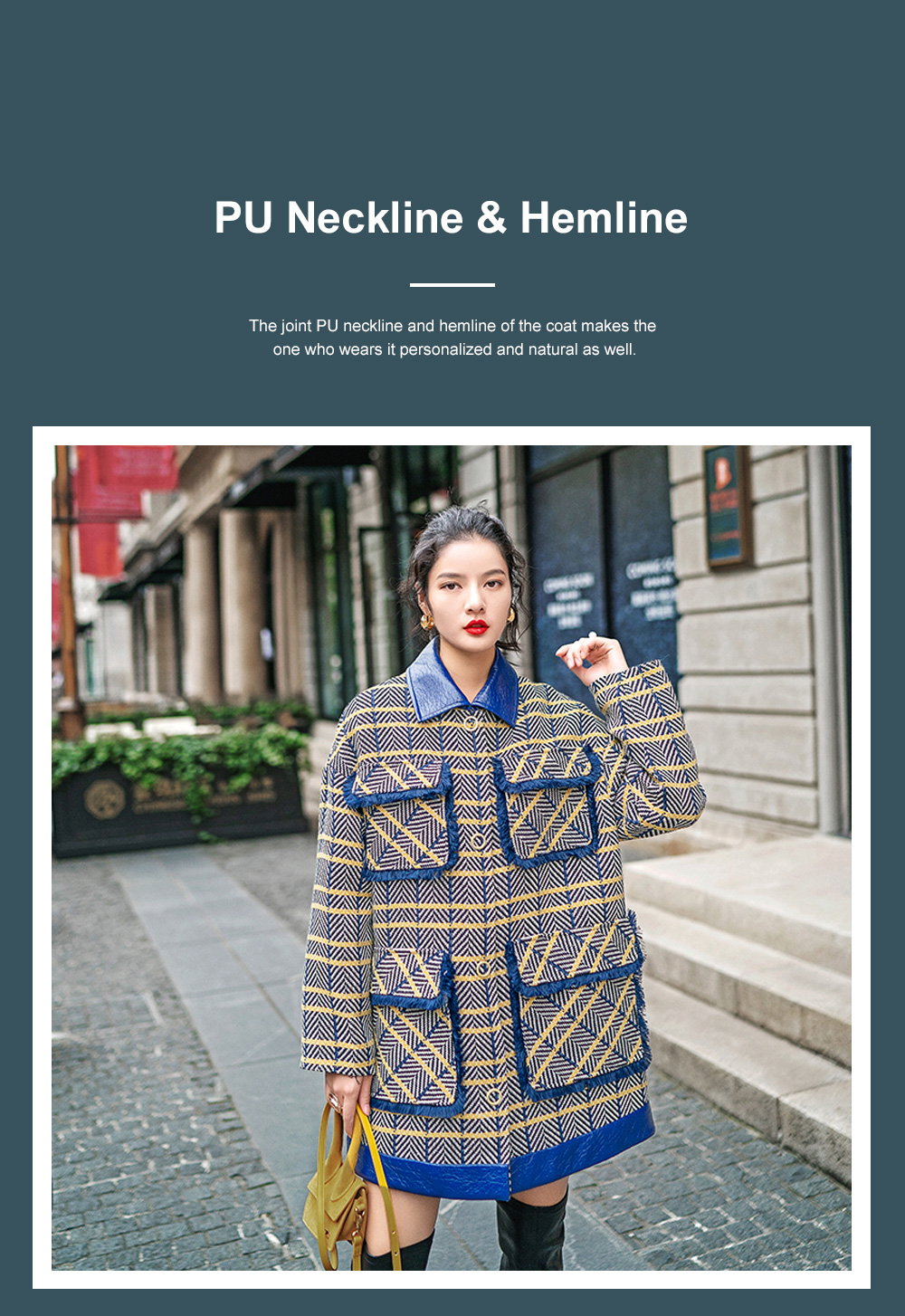 Grid Frock Coat Thickened Loose Great Coat for Women Wear New Style Cotton Clothes Autumn Winter 2019 2