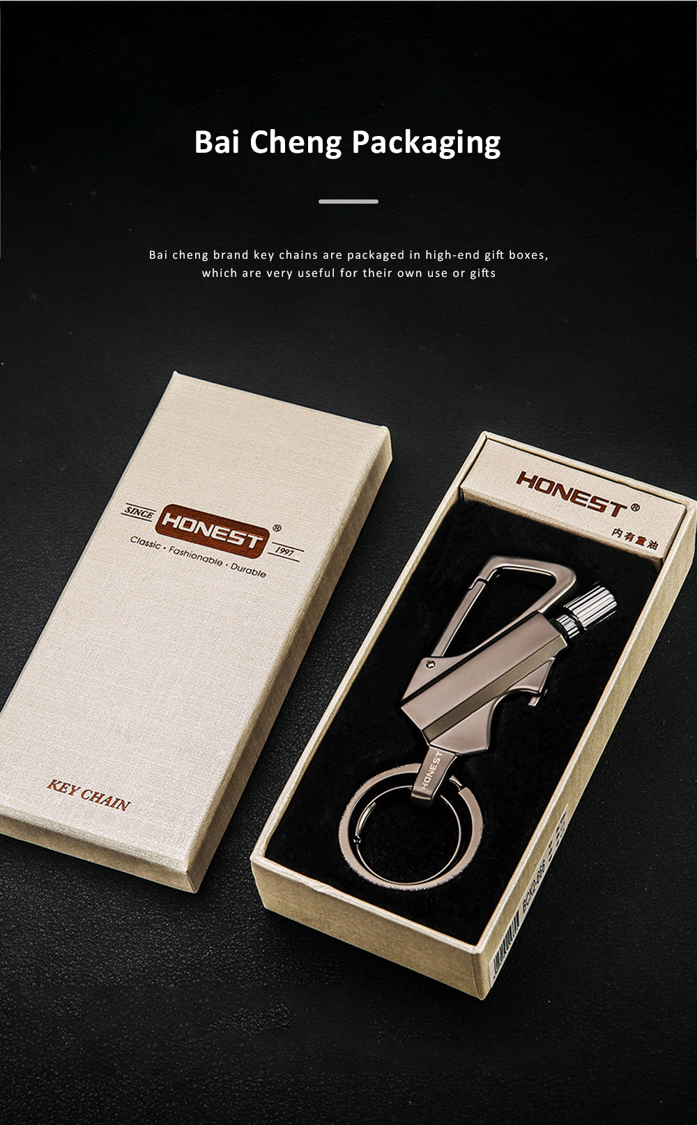 3 In 1 Classic Fashion Simple Metal Zinc Alloy Car Key Chain Bottle Opener Thousand Matches Carabiner Multifunctional Key Chain 6