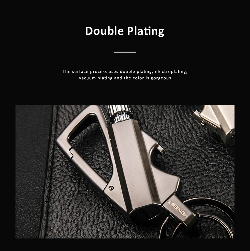 3 In 1 Classic Fashion Simple Metal Zinc Alloy Car Key Chain Bottle Opener Thousand Matches Carabiner Multifunctional Key Chain 4