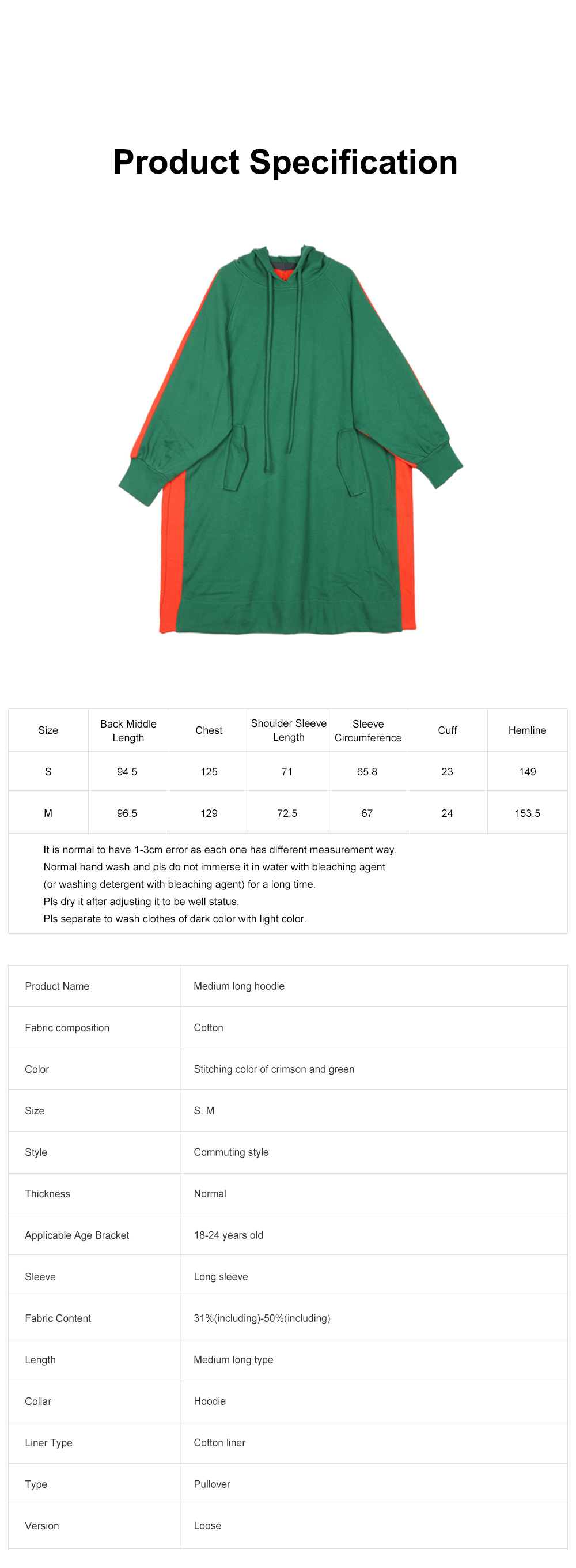 Stitching Color Hoodie Loose Style Hoodie for Women Fashionable Cotton Overcoat Spring Autumn 2019 6