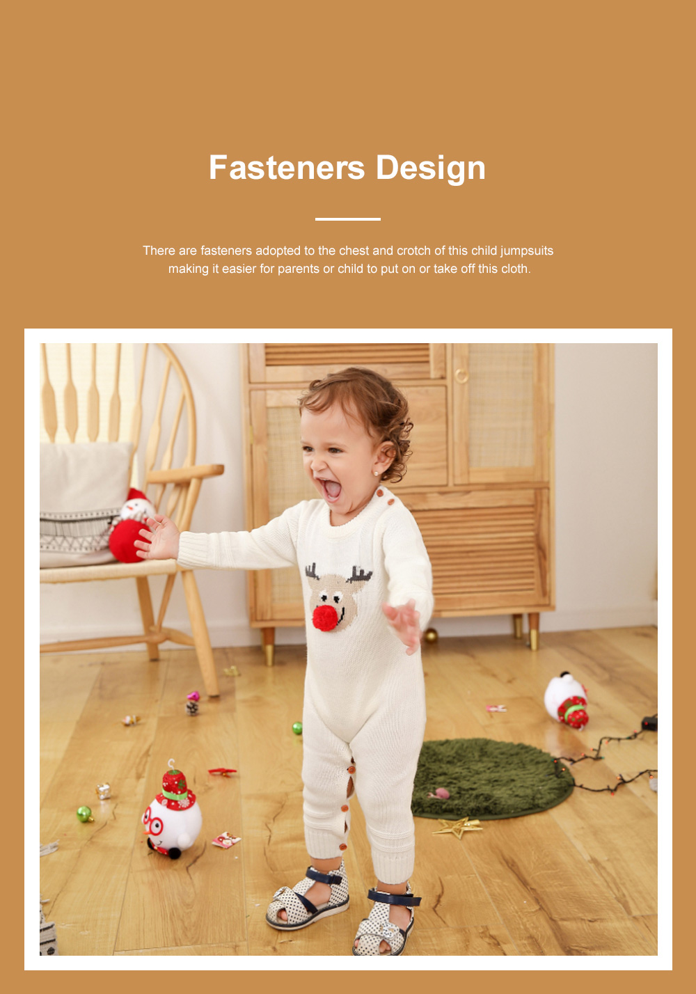 Cute Cartoon Christmas Hat Elk Pattern Decoration Jumpsuit Christmas New Year Sweater One-pieces Jumpsuits for Boy Girl Children Infants 2
