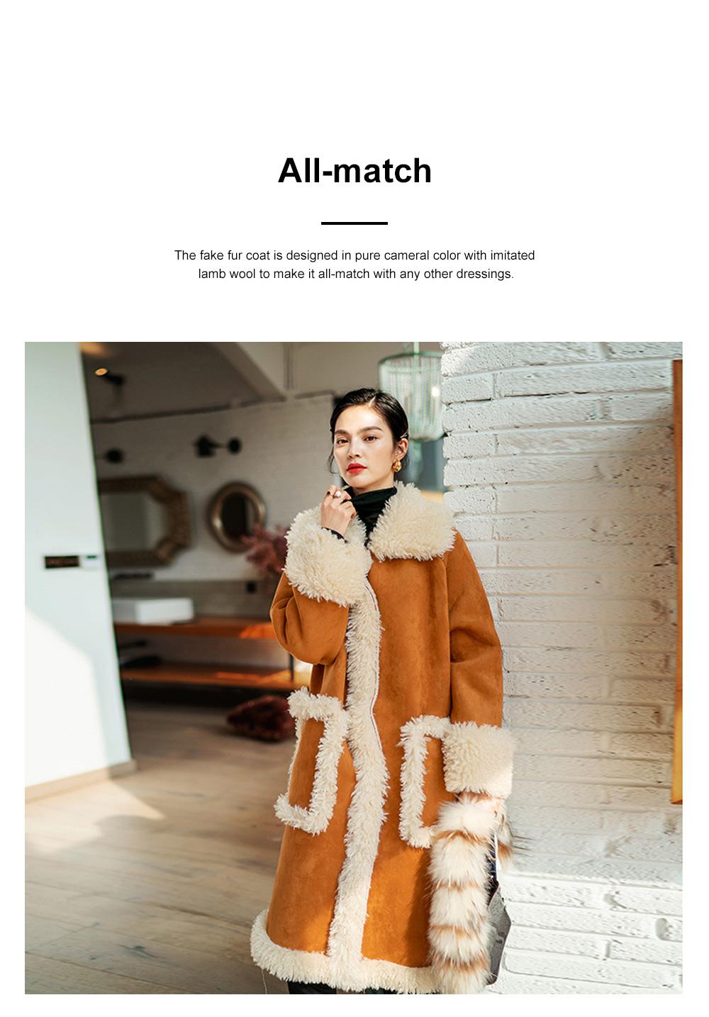 Fake Fur Long Coat for Women Wear Imitated Lamb Wool Great Coat Autumn Winter 2019 1
