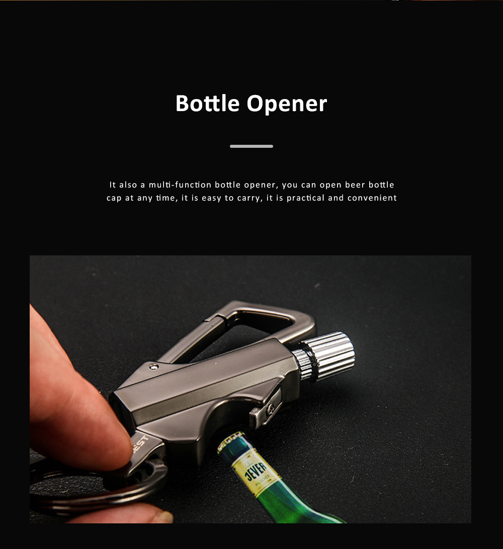 3 In 1 Classic Fashion Simple Metal Zinc Alloy Car Key Chain Bottle Opener Thousand Matches Carabiner Multifunctional Key Chain 2