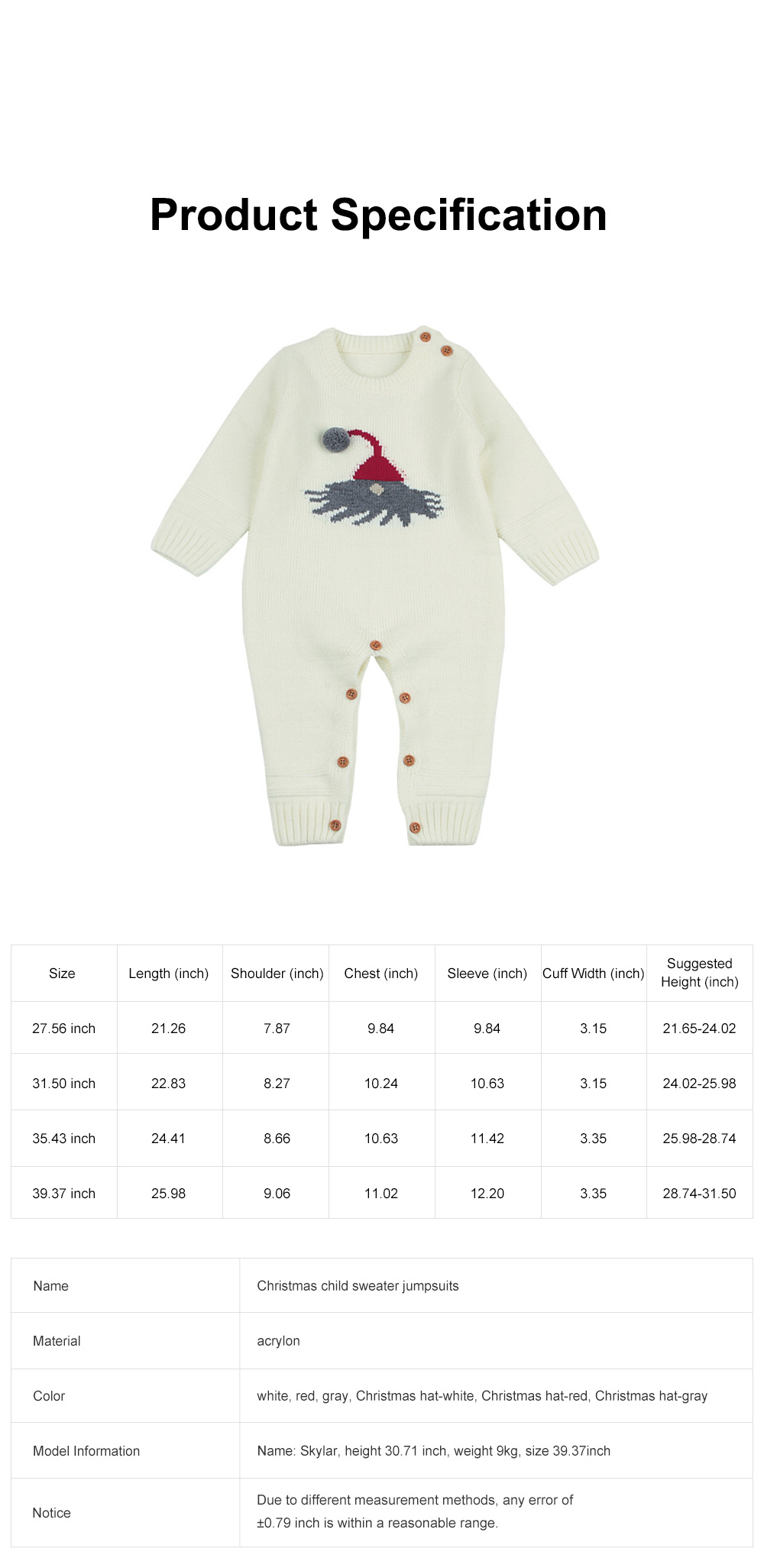 Cute Cartoon Christmas Hat Elk Pattern Decoration Jumpsuit Christmas New Year Sweater One-pieces Jumpsuits for Boy Girl Children Infants 6