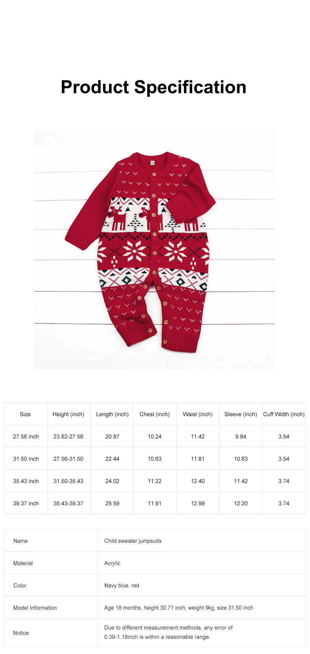 Baby Cartoon Christmas New Year Sweater One-pieces Jumpsuits for 1-3 Years Boy Girl Children Infants 6