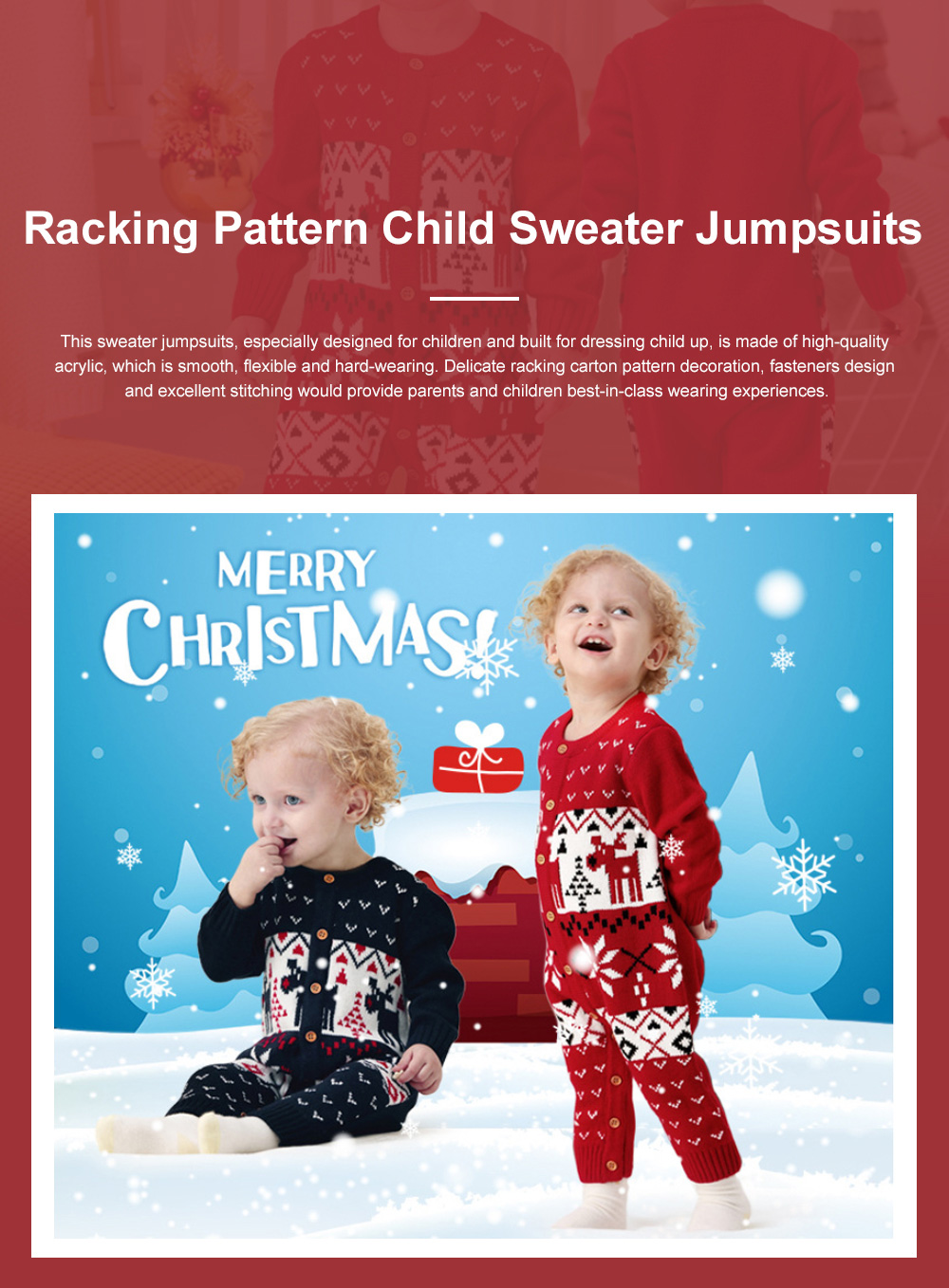 Baby Cartoon Christmas New Year Sweater One-pieces Jumpsuits for 1-3 Years Boy Girl Children Infants 0