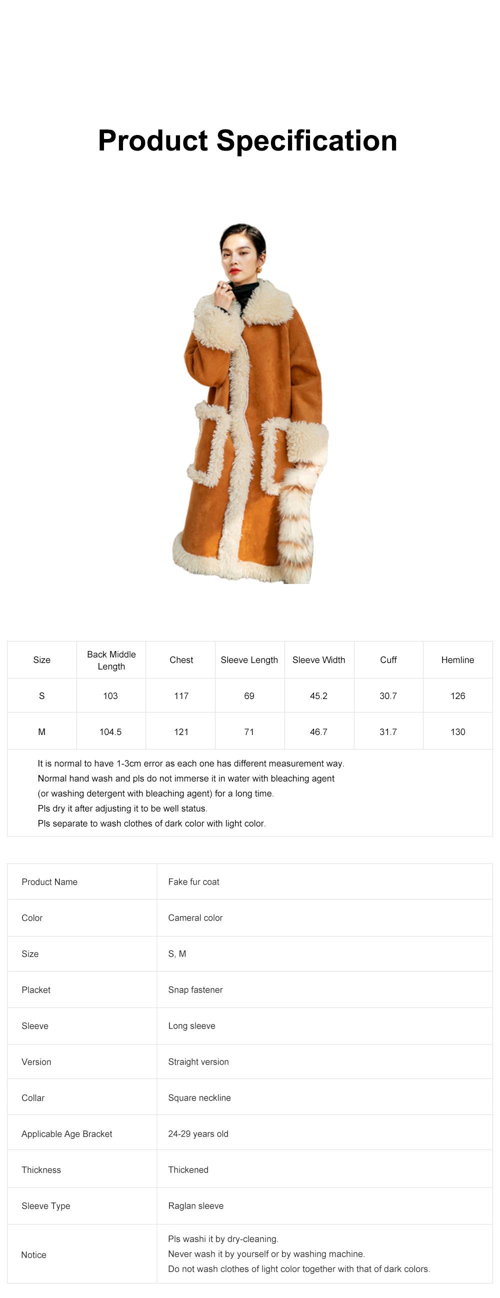 Fake Fur Long Coat for Women Wear Imitated Lamb Wool Great Coat Autumn Winter 2019 6