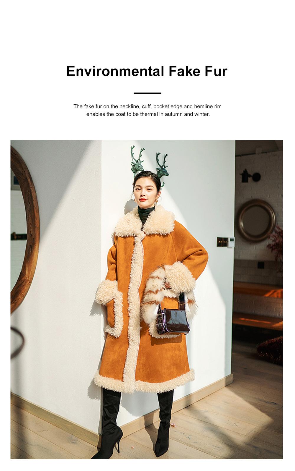 Fake Fur Long Coat for Women Wear Imitated Lamb Wool Great Coat Autumn Winter 2019 3
