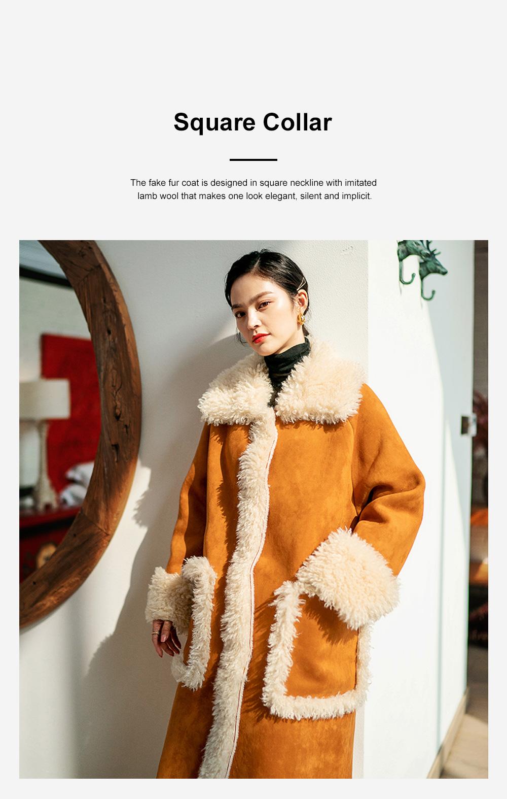 Fake Fur Long Coat for Women Wear Imitated Lamb Wool Great Coat Autumn Winter 2019 5