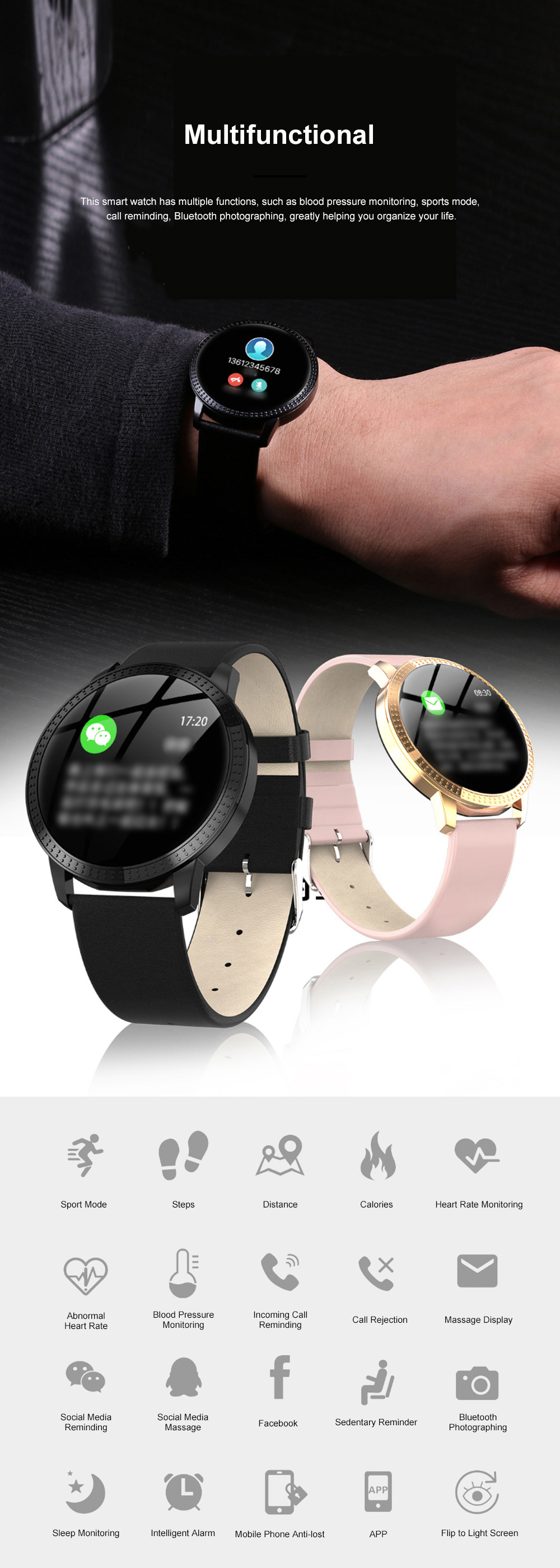 Multifunctional Waterproof Large Round Screen Intelligent Smart Watch with Leather Strap Bluetooth Photographing 6