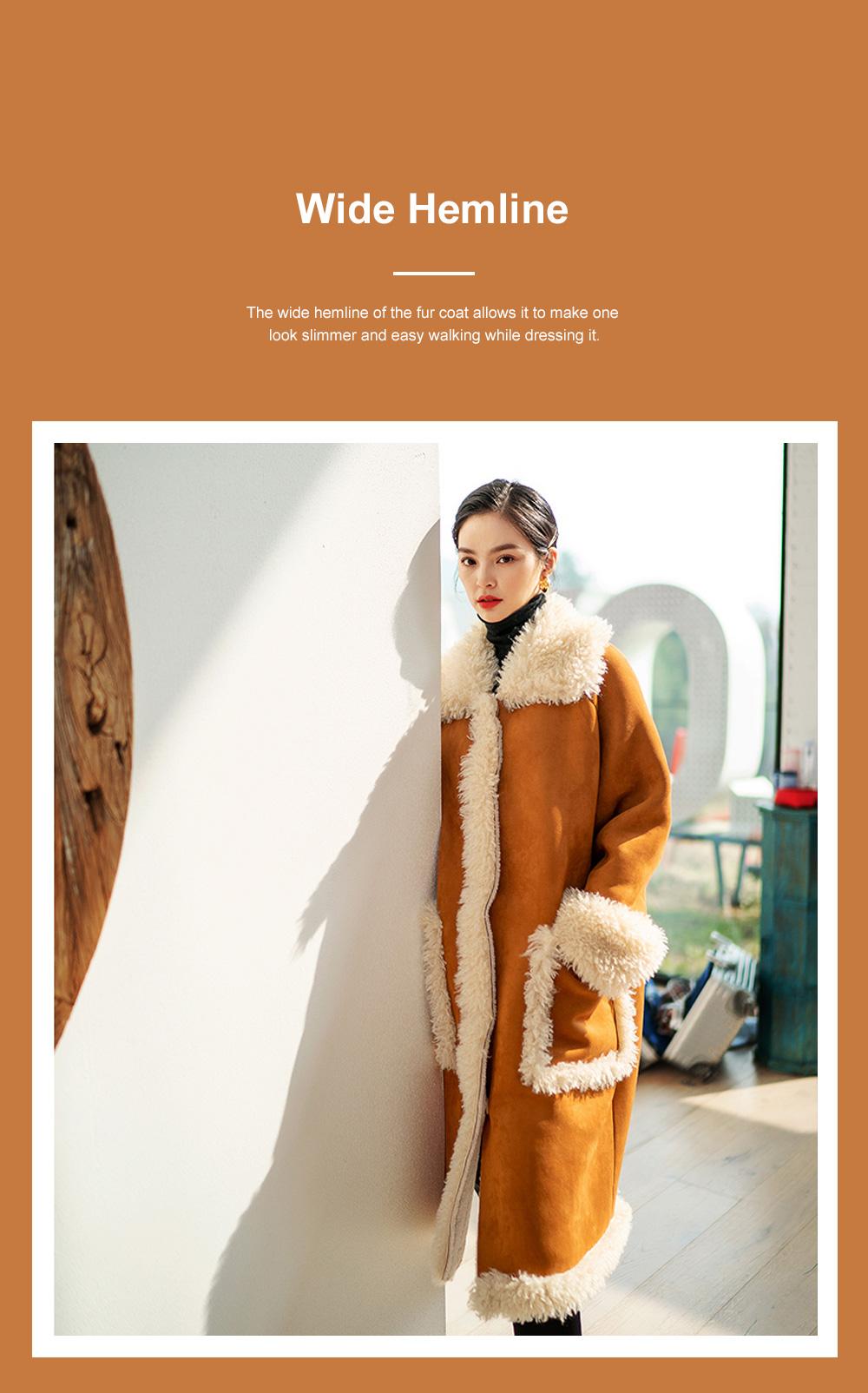 Fake Fur Long Coat for Women Wear Imitated Lamb Wool Great Coat Autumn Winter 2019 4