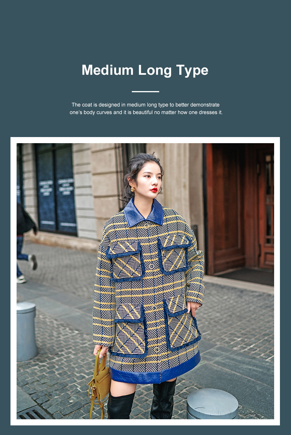 Grid Frock Coat Thickened Loose Great Coat for Women Wear New Style Cotton Clothes Autumn Winter 2019 6