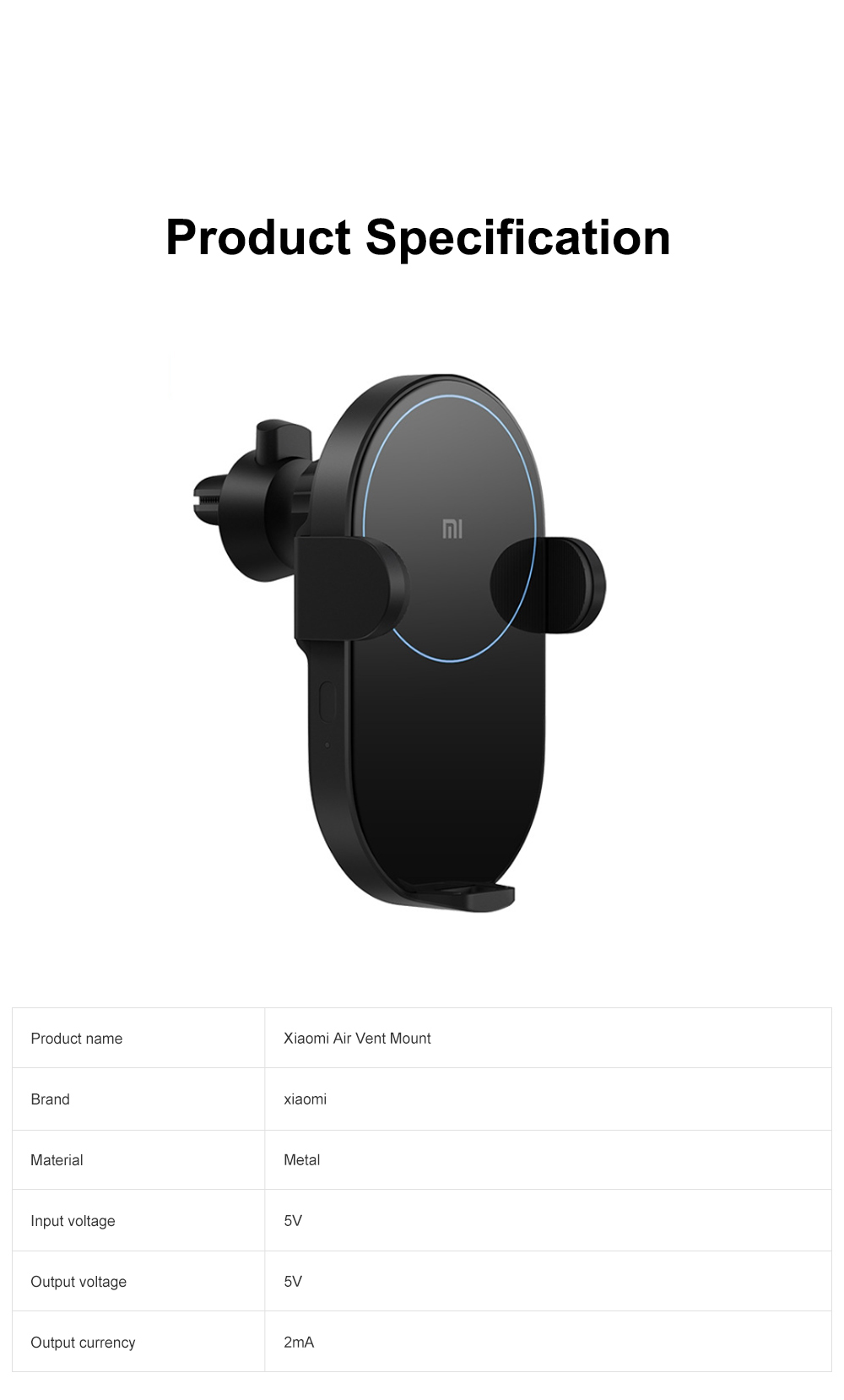 Xiaomi Car Wireless Charger Phone Holder 20W Wireless Air Vent Mount with Auto Clamping and Infrared Smart Sensor for MI 8