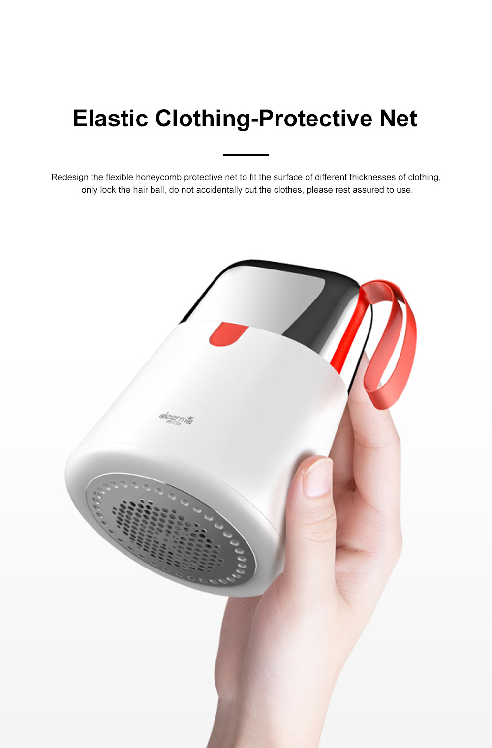 DEERMA 2 in 1 Hair Ball Fuzzing Trimmer USB Rechargeable Fabric Remover with 3-leaf Floating Head for Sweater Clothes Care 5