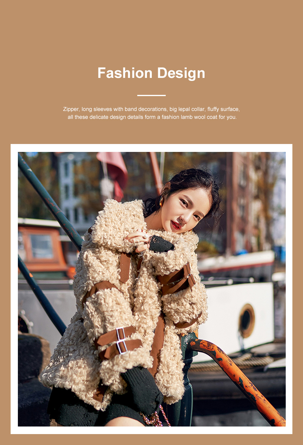 Women Lamb Wool Coat Short Cardigan Thick Spliced Lamb Coat with Long Sleeves for Autumn and Winter 2
