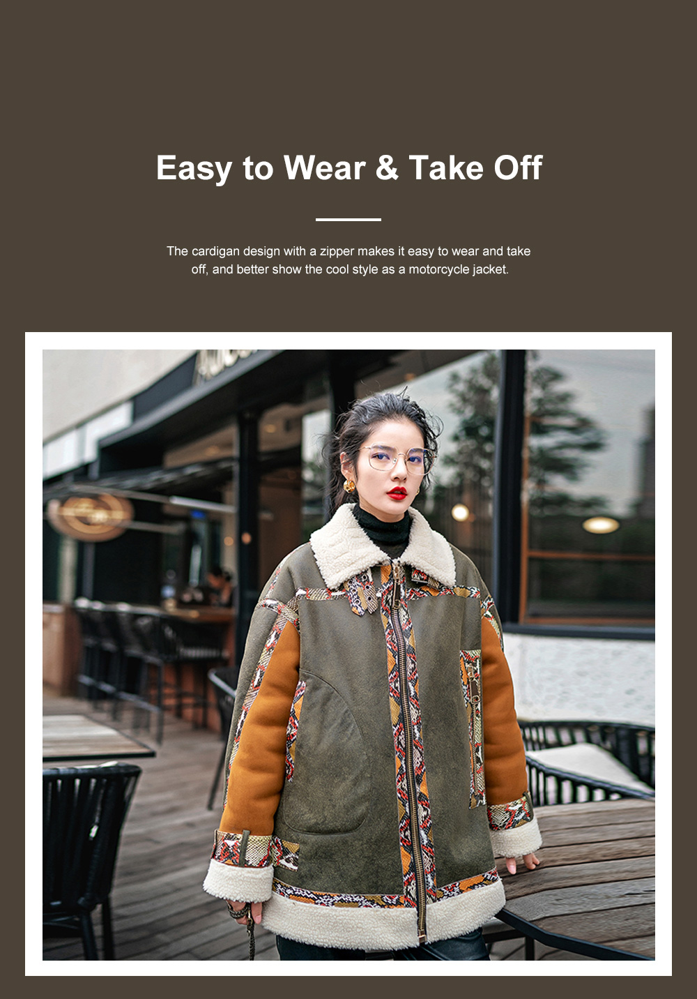 Short Lamb Coat for Women Oversized Zip Up Outwear for Cold Winter Cool Thicken Motorcycle PU Leather Jackets for Ladies 2