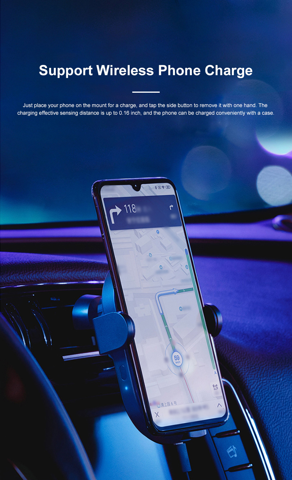 Xiaomi Car Wireless Charger Phone Holder 20W Wireless Air Vent Mount with Auto Clamping and Infrared Smart Sensor for MI 5