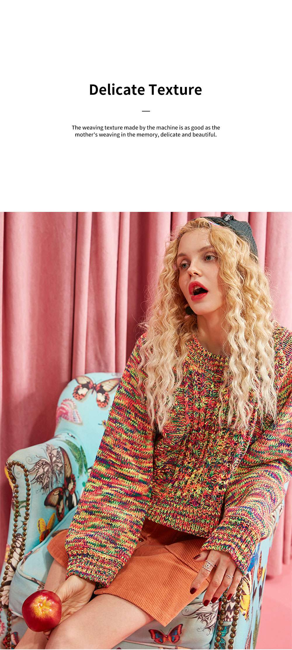 ELFSACK Rainbow-Colored Knitwear Lightweight Pullover Round Neck Sweater for Women in Autumn and Winter 3