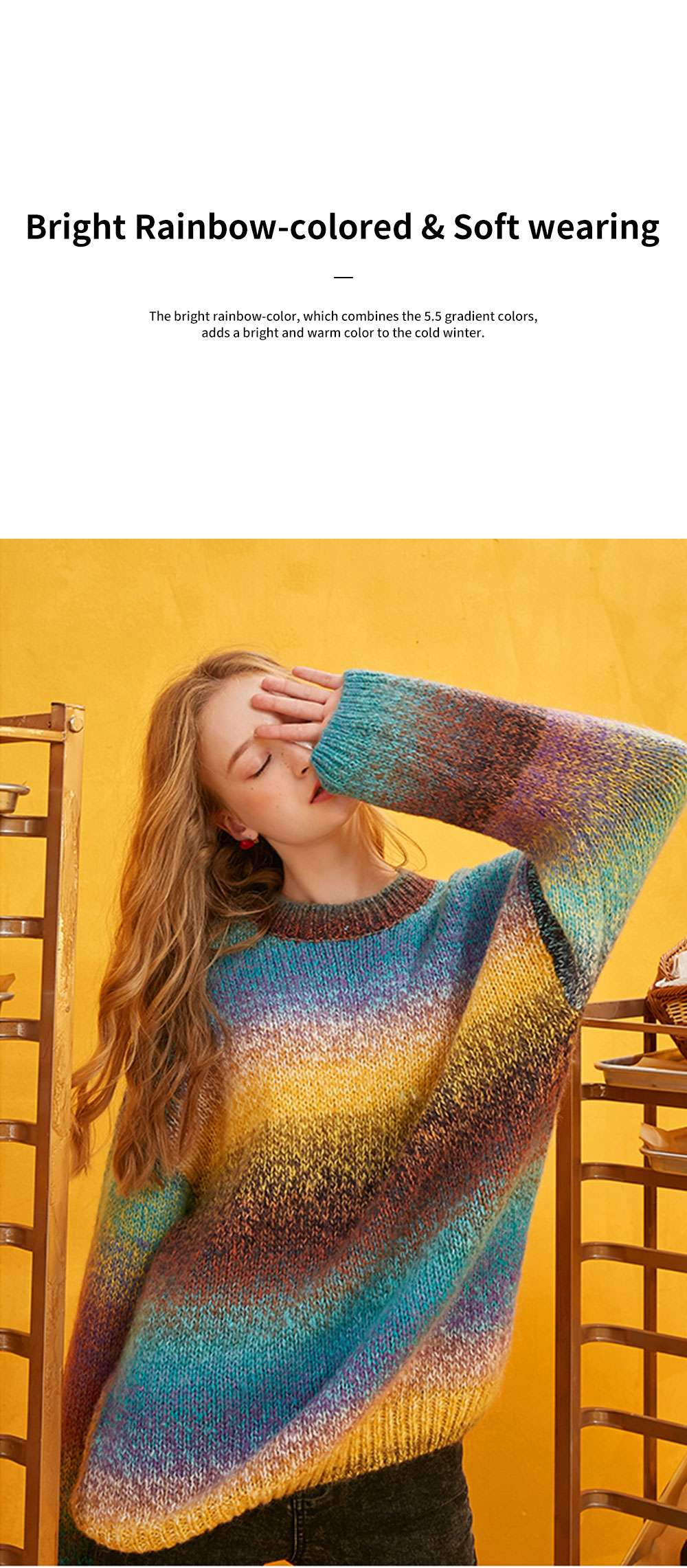 ELFSACK Blue Childhood Rainbow Stripe Knitwear Women's Loose Sweater with Round Neck and Long Sleeves for Autumn and Winter 2
