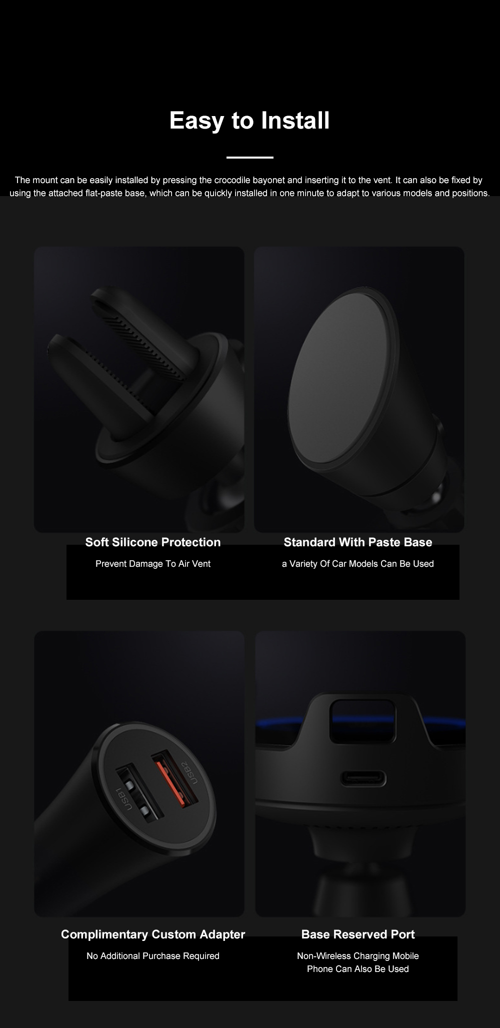 Xiaomi Car Wireless Charger Phone Holder 20W Wireless Air Vent Mount with Auto Clamping and Infrared Smart Sensor for MI 7