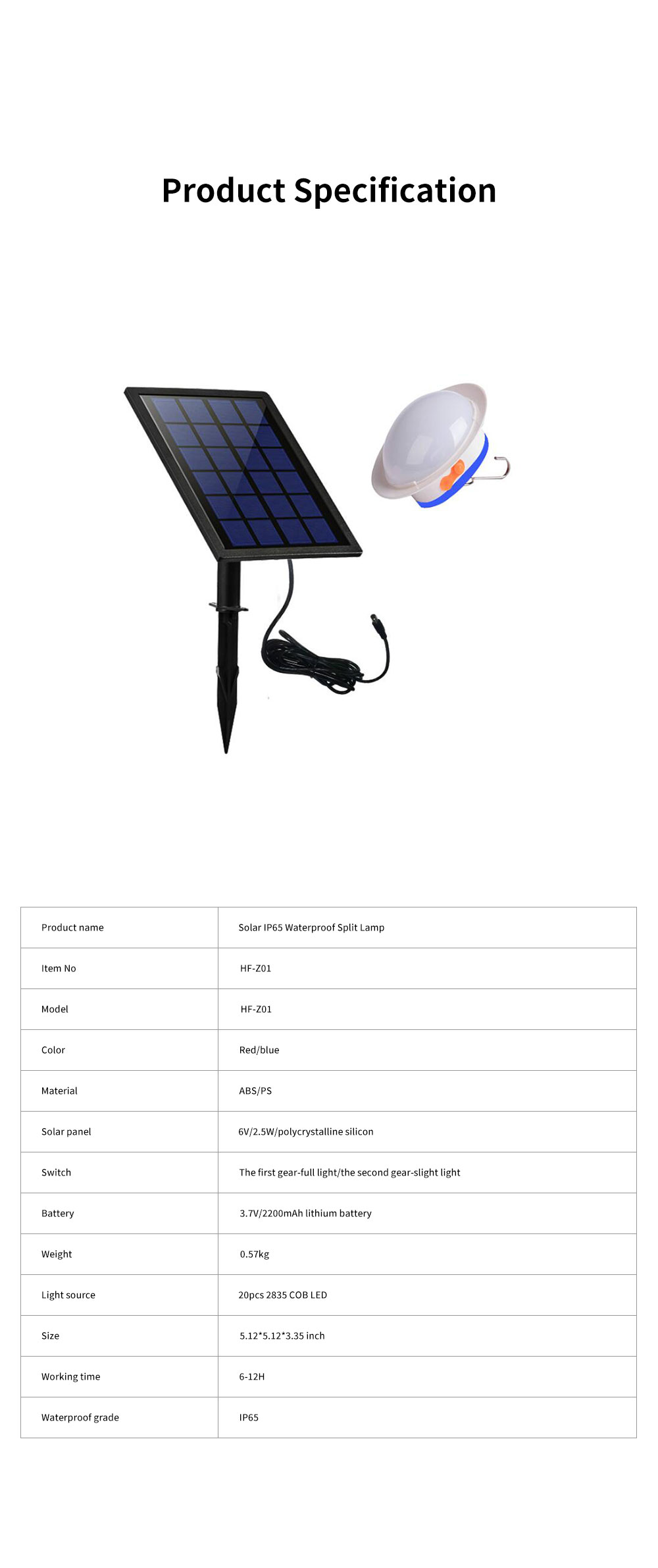 Solar IP65 Waterproof Split Lamp Outdoor Spotlight with 2200mAh Lithium Battery for Courtyard Lawn Wall Lighting 6