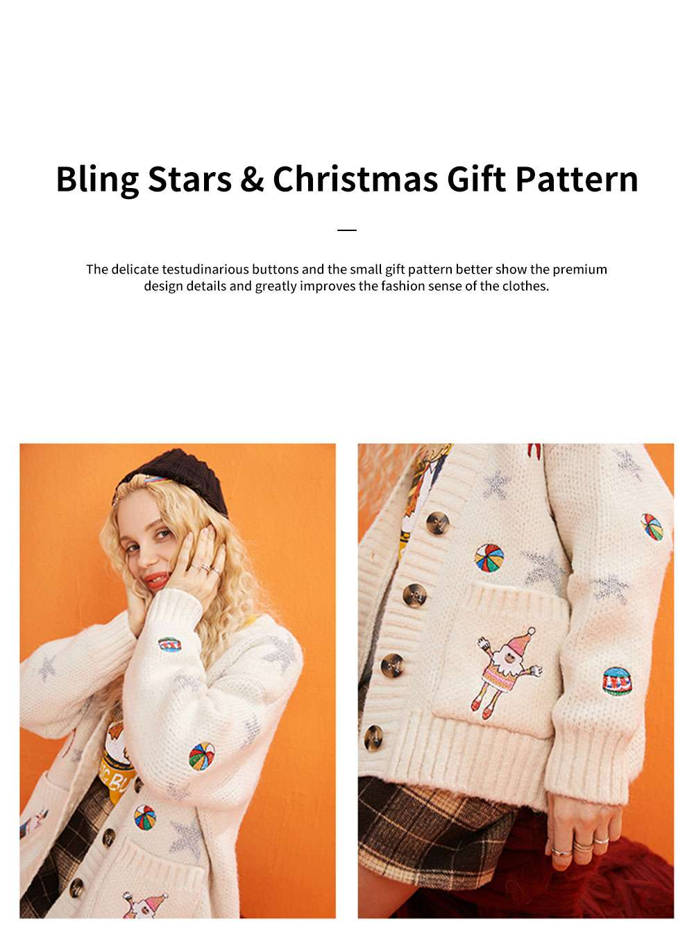ELFSACK Women's Loose Knit Sweater Fashion Embroidery Print Cardigan Coat with Long Sleeves for Autumn and Winter Christmas Gift 5