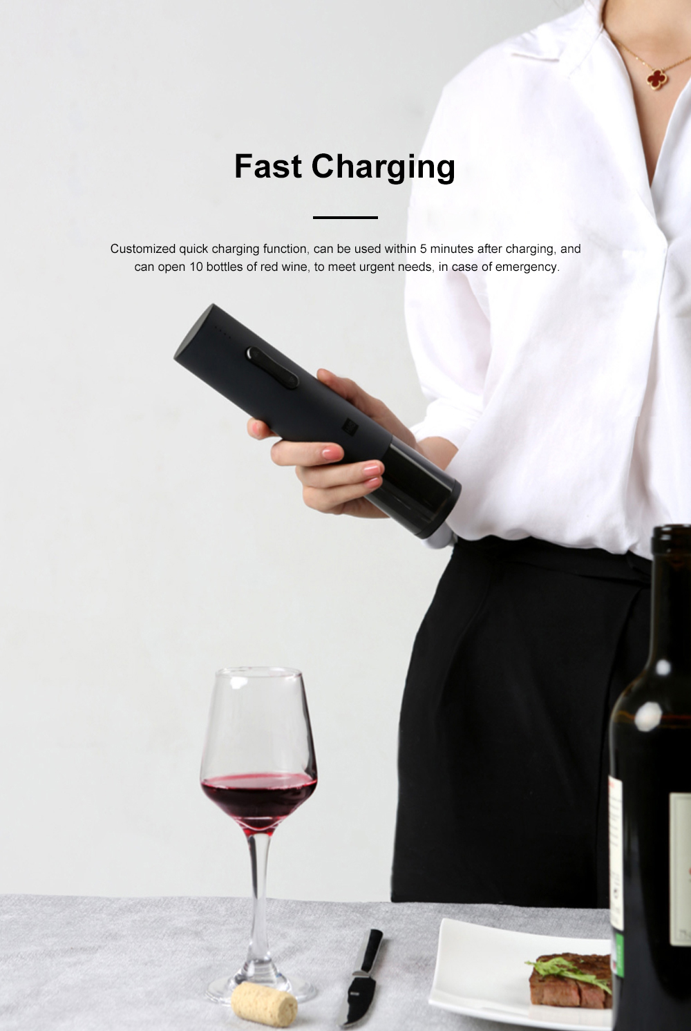 Huohou Electric Corkscrew Bottle Opener USB Rechargeable Wine Bottle Opener with Battery Display and Low Noise for 6S Quick Opening 4