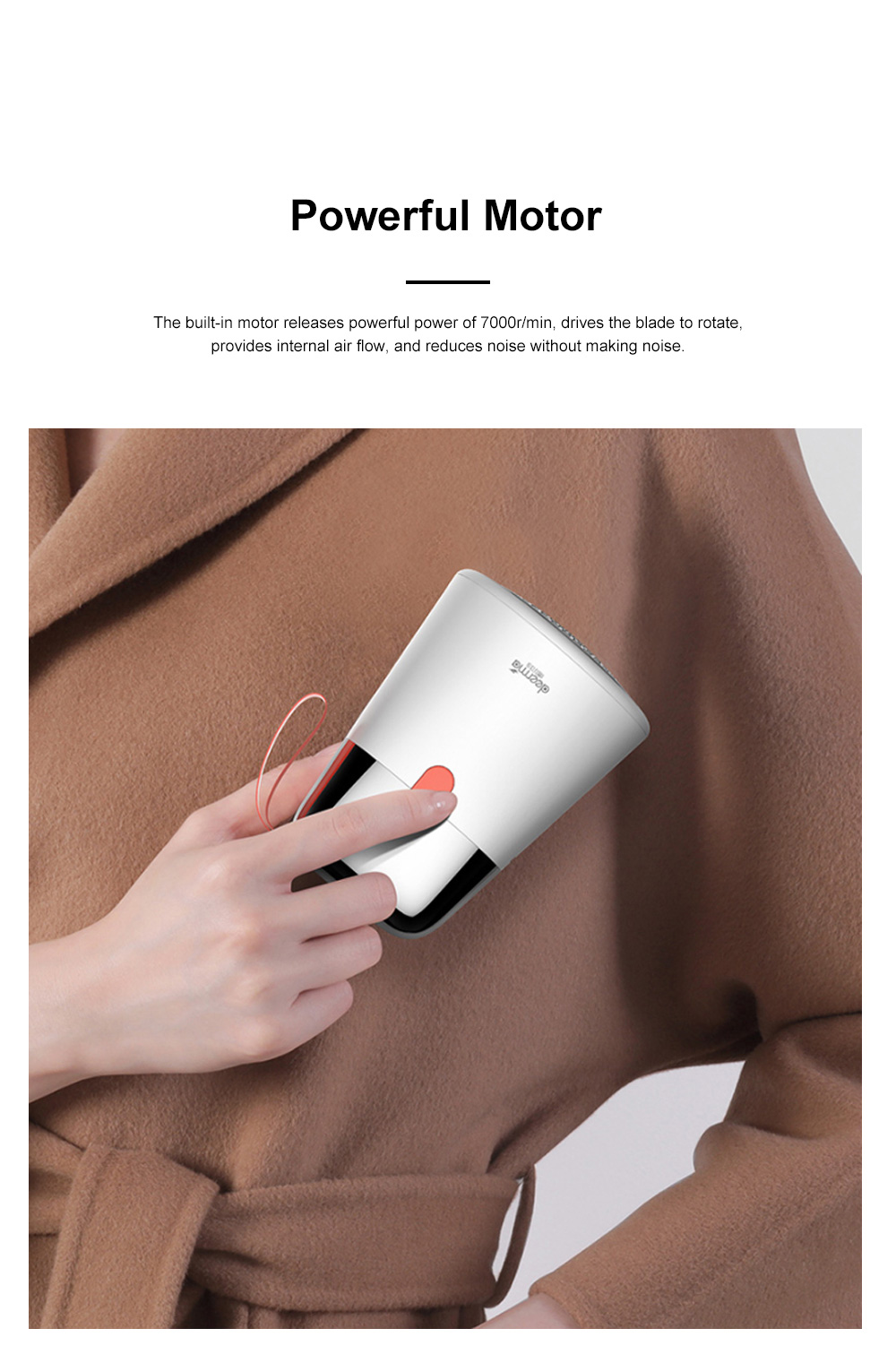 DEERMA 2 in 1 Hair Ball Fuzzing Trimmer USB Rechargeable Fabric Remover with 3-leaf Floating Head for Sweater Clothes Care 1