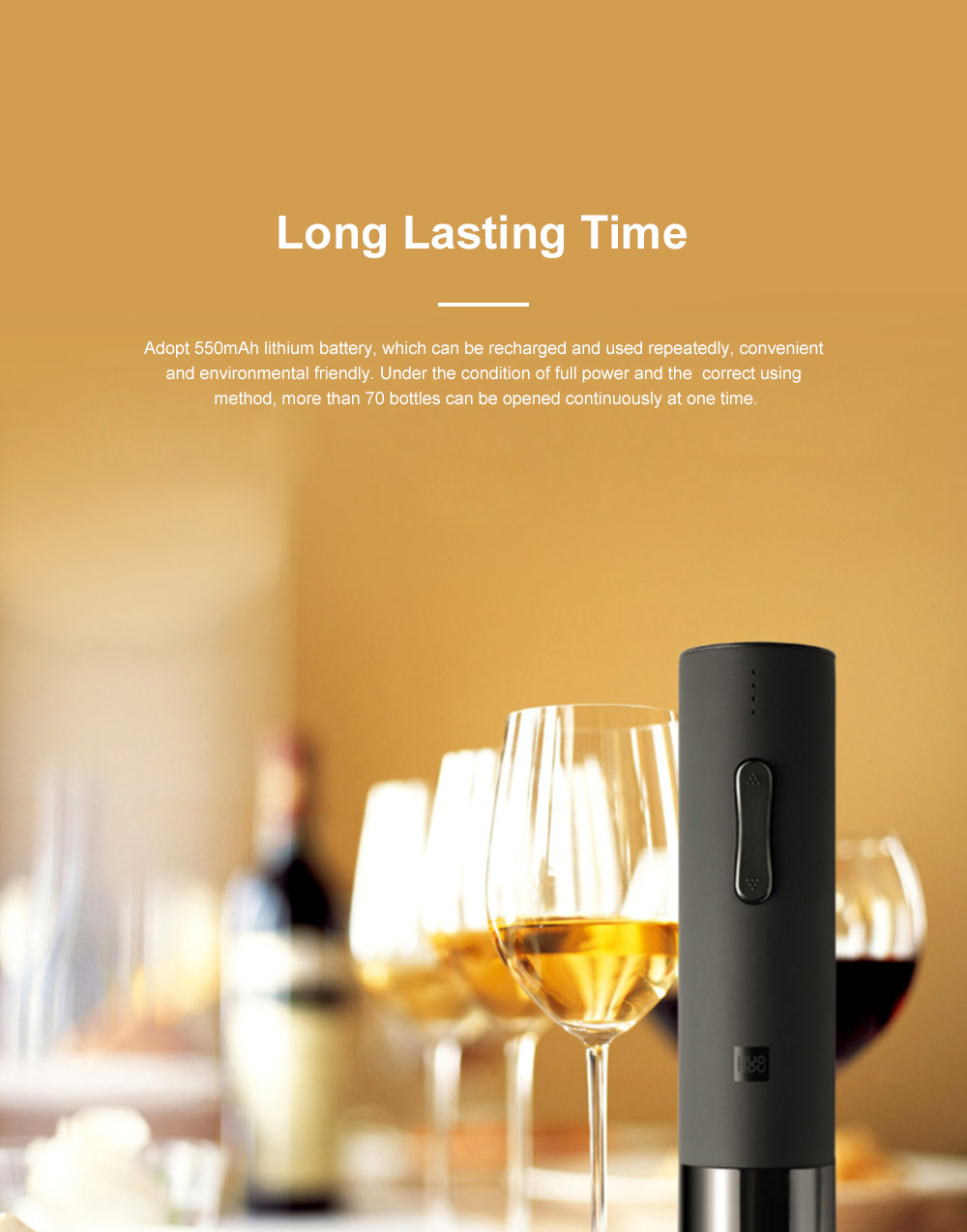 Huohou Electric Corkscrew Bottle Opener USB Rechargeable Wine Bottle Opener with Battery Display and Low Noise for 6S Quick Opening 6