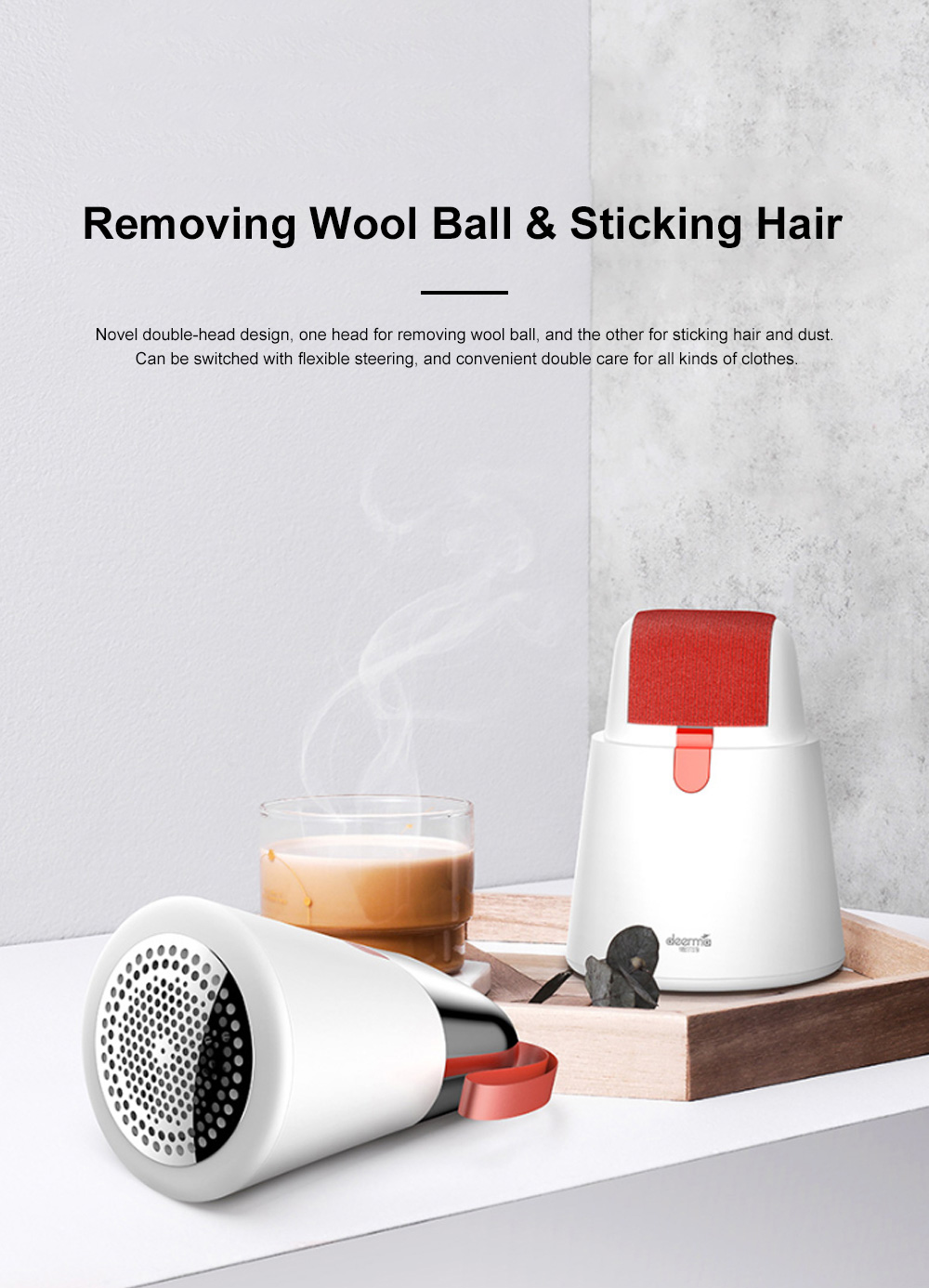 DEERMA 2 in 1 Hair Ball Fuzzing Trimmer USB Rechargeable Fabric Remover with 3-leaf Floating Head for Sweater Clothes Care 2