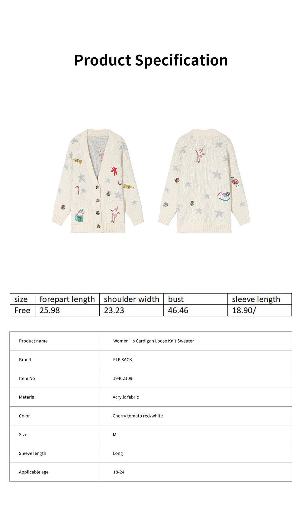ELFSACK Women's Loose Knit Sweater Fashion Embroidery Print Cardigan Coat with Long Sleeves for Autumn and Winter Christmas Gift 6