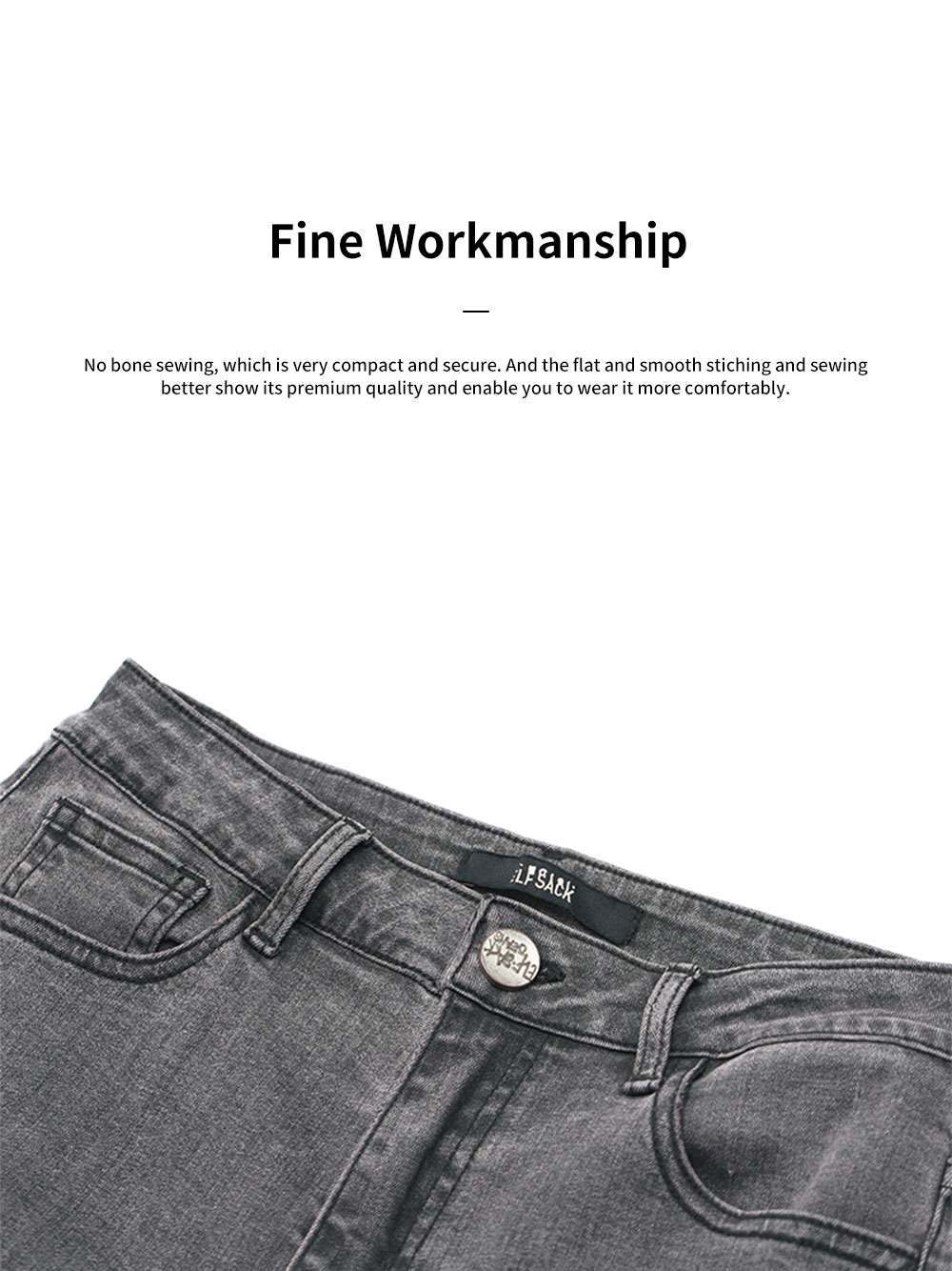 ELFSACK Women Skinny Jeans Fashion Elastic Casual Small Feet Cropped Jeans with Frayed Hem and Ripped Hole 4