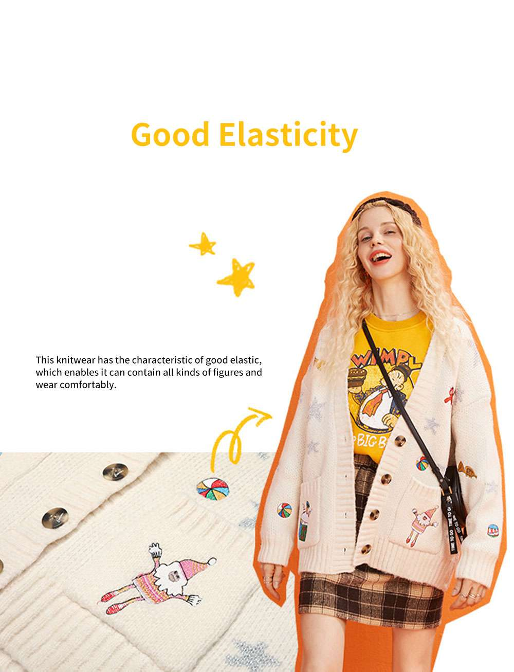 ELFSACK Women's Loose Knit Sweater Fashion Embroidery Print Cardigan Coat with Long Sleeves for Autumn and Winter Christmas Gift 1