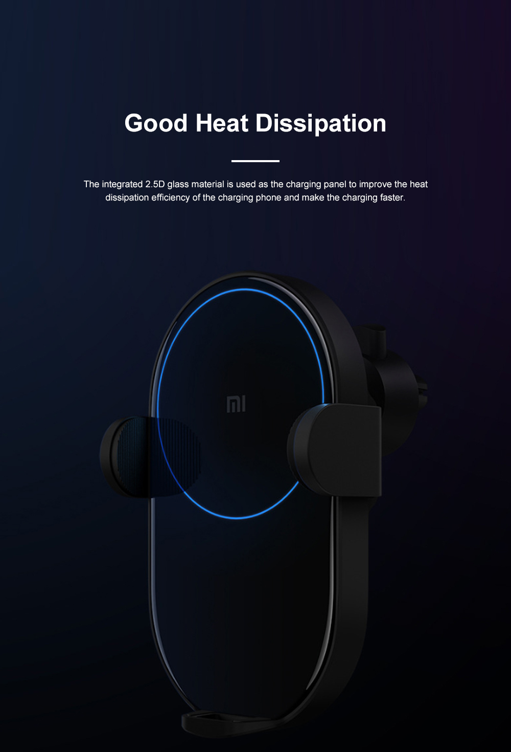 Xiaomi Car Wireless Charger Phone Holder 20W Wireless Air Vent Mount with Auto Clamping and Infrared Smart Sensor for MI 4
