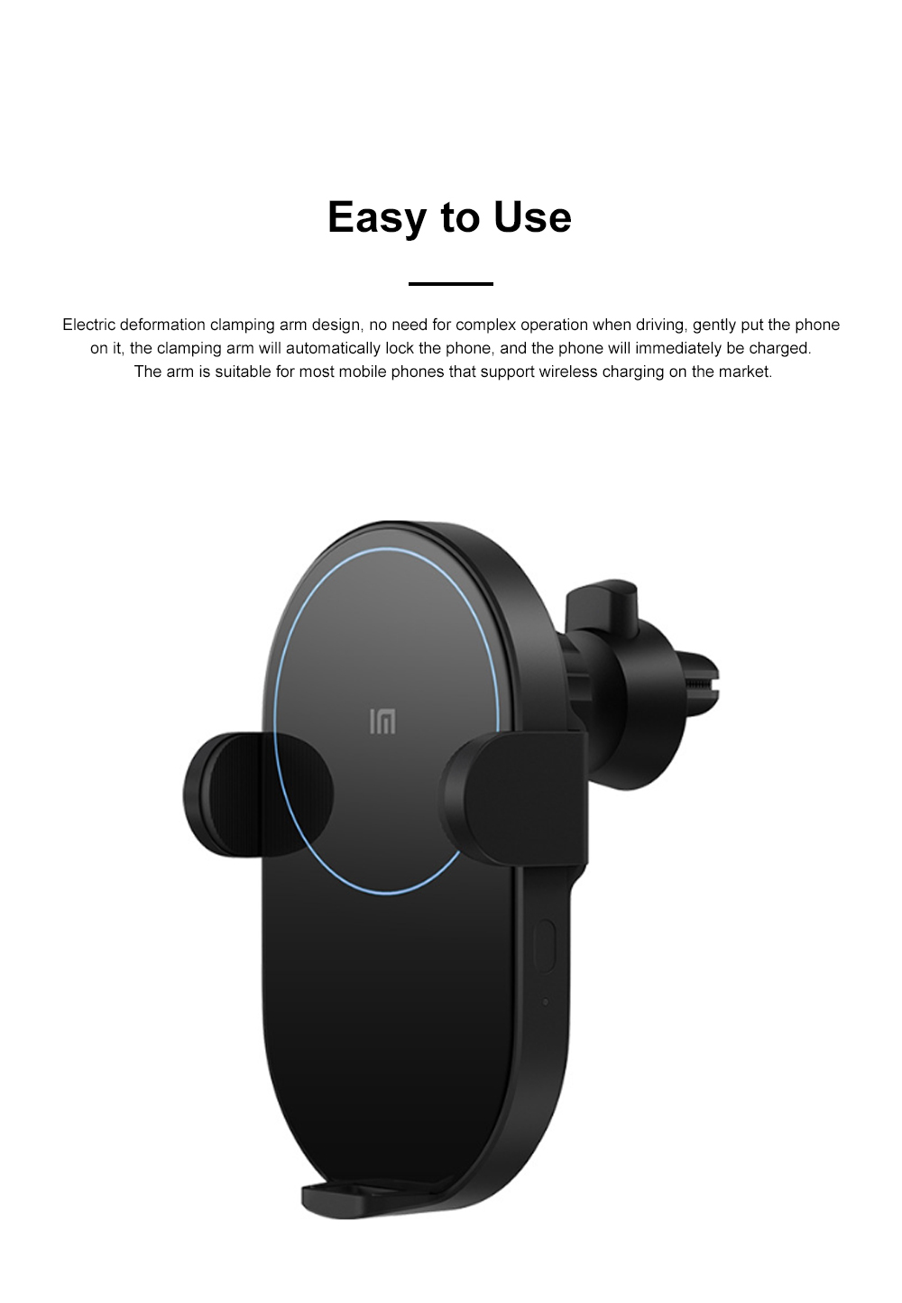 Xiaomi Car Wireless Charger Phone Holder 20W Wireless Air Vent Mount with Auto Clamping and Infrared Smart Sensor for MI 1