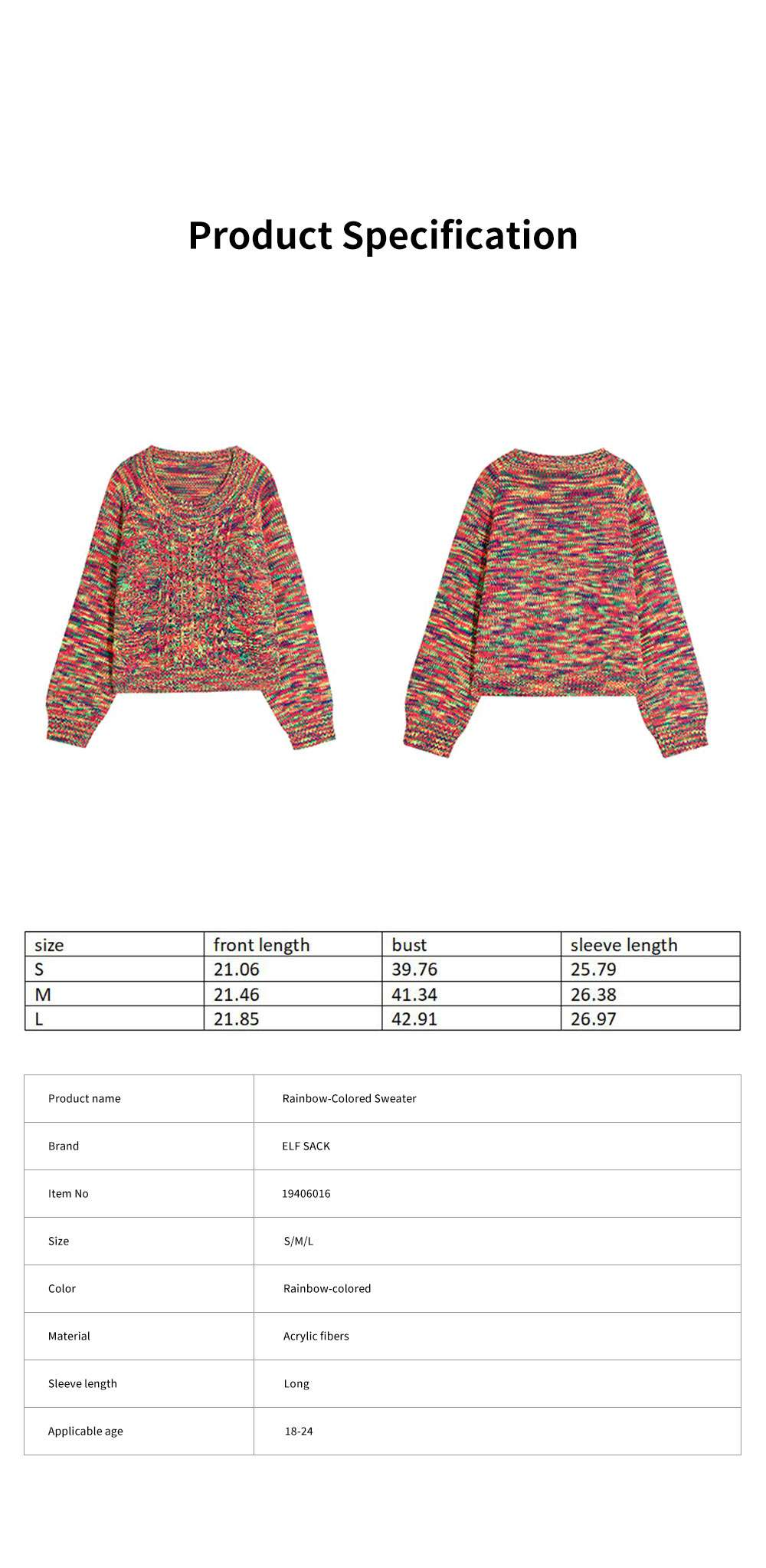ELFSACK Rainbow-Colored Knitwear Lightweight Pullover Round Neck Sweater for Women in Autumn and Winter 6