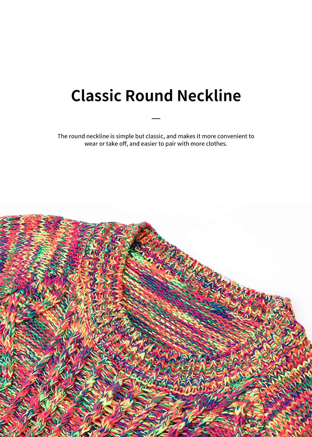 ELFSACK Rainbow-Colored Knitwear Lightweight Pullover Round Neck Sweater for Women in Autumn and Winter 5