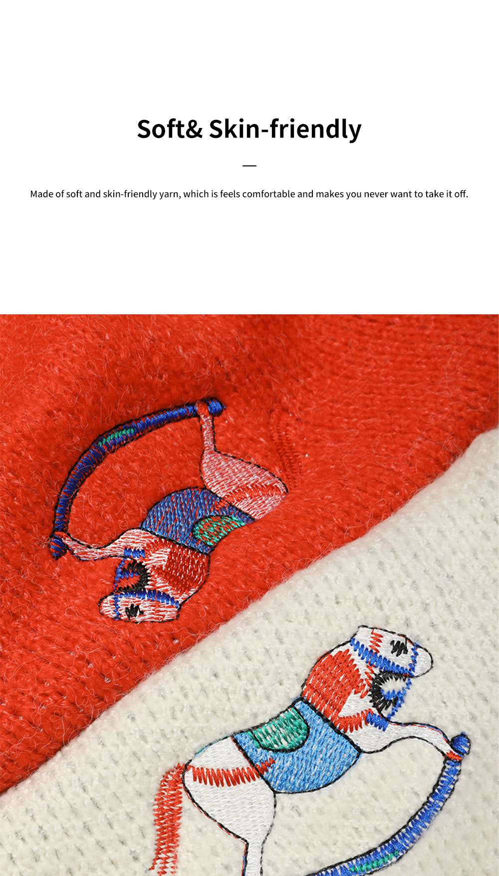 ELFSACK Women's Loose Knit Sweater Fashion Embroidery Print Cardigan Coat with Long Sleeves for Autumn and Winter Christmas Gift 2