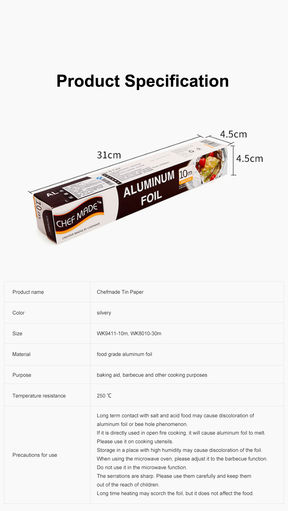 Chefmade Tin Paper Barbecue Cooking Western Dim Sum Tin Paper Barbecue Tin Foil Paper Aluminum Foil Paper 6