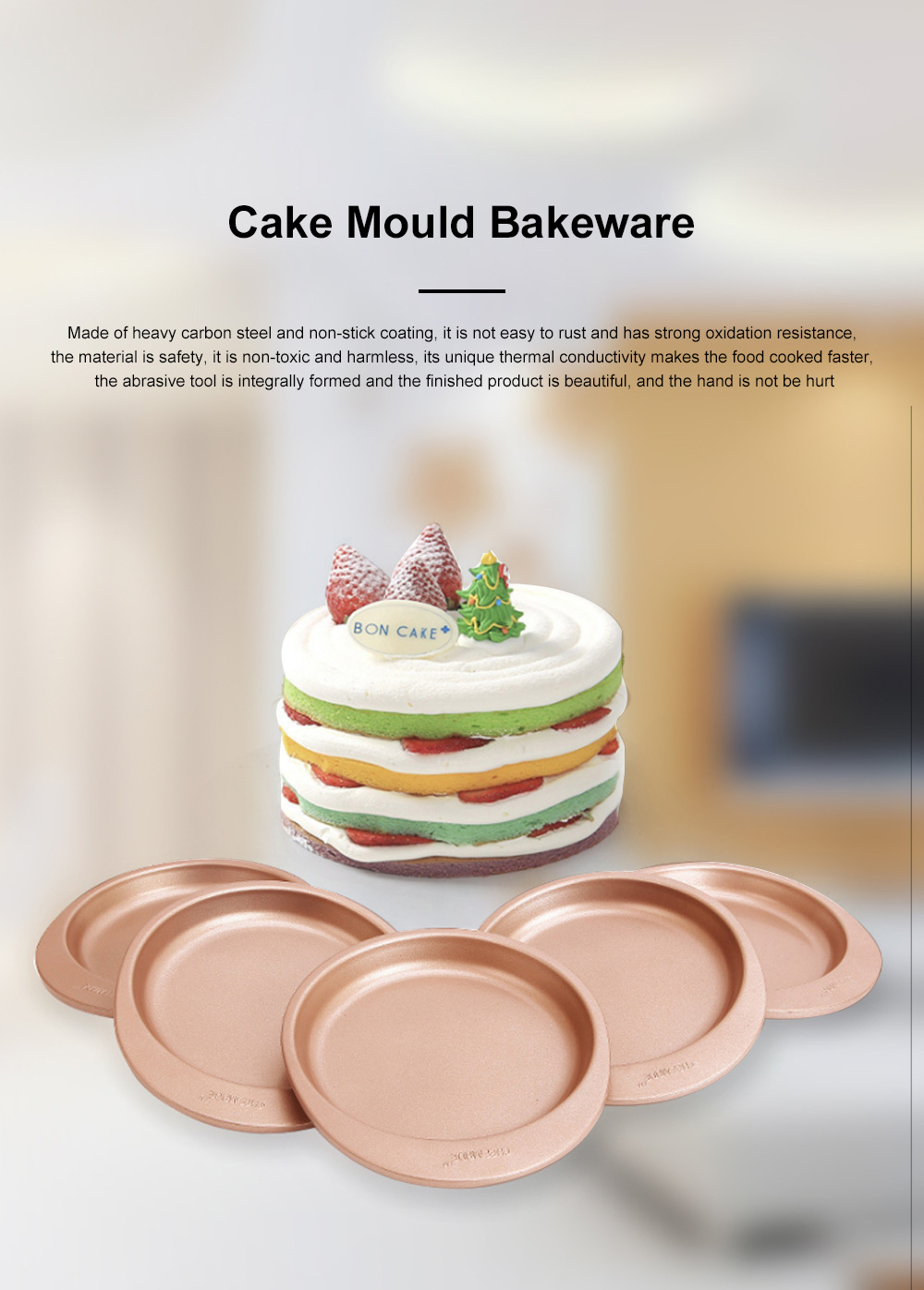 Chefmade Silicone Rainbow Cake Mould Bakeware Round DIY Baking Pan Silicone Cake Pans For Baking 5pcs 0