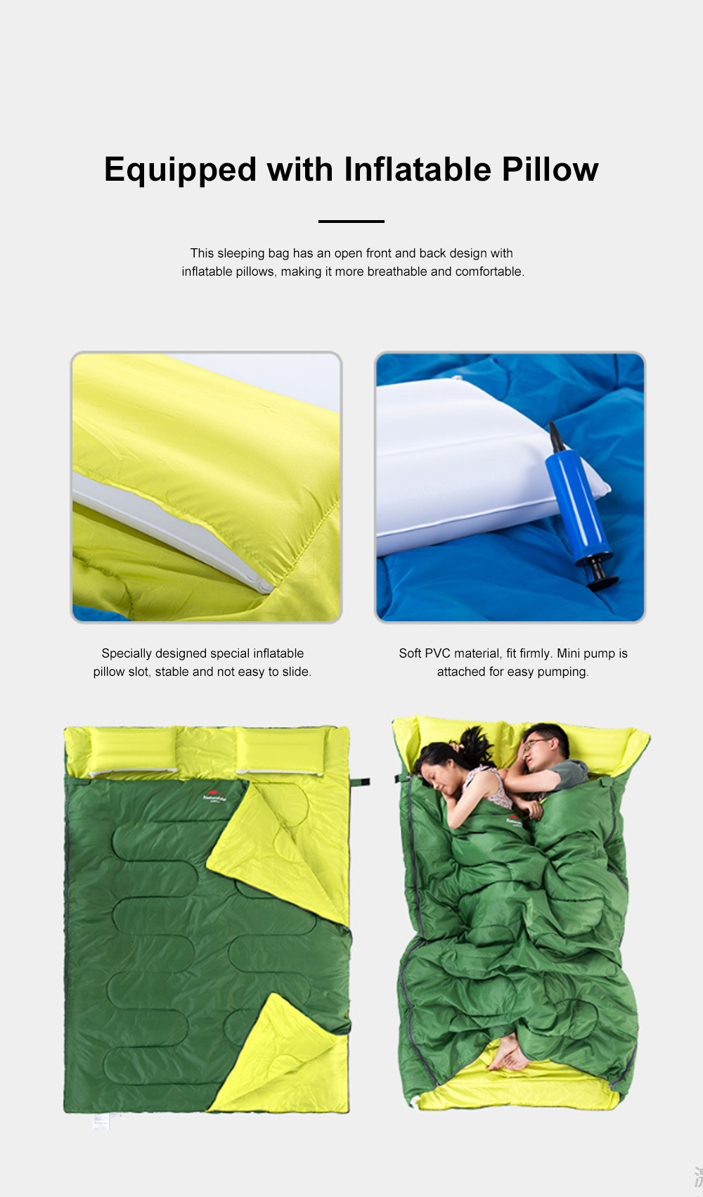 Naturehike Sleeping Bag for Two Adult Outdoor Camping Tent Cotton Sleeping Bag for Lunch Break in Four Seasons Office 2
