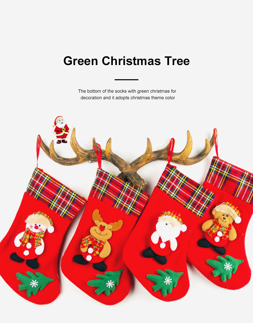 Top Selling Design Stocking Christmas Decorations Fabric Plaid Santa Claus Christmas Socks Gift Bag 1