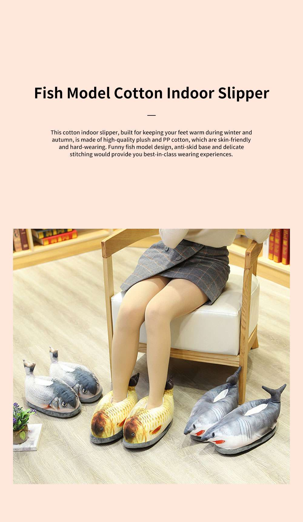 Creative Cute Funny Fish Model Cotton Indoor Slippers Pantofle Winter Autumn Warm Household Shoes 0