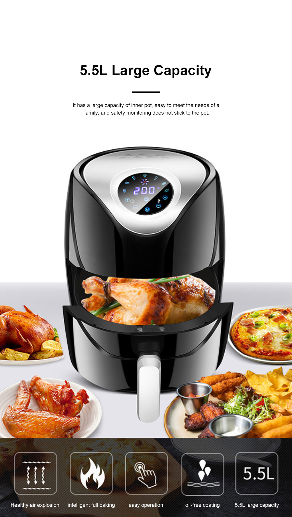 5.5L Electric Air Fryer Household Intelligent Touch Screen Multifunctional Electric Fryer No Lampblack and Chips Machine 1