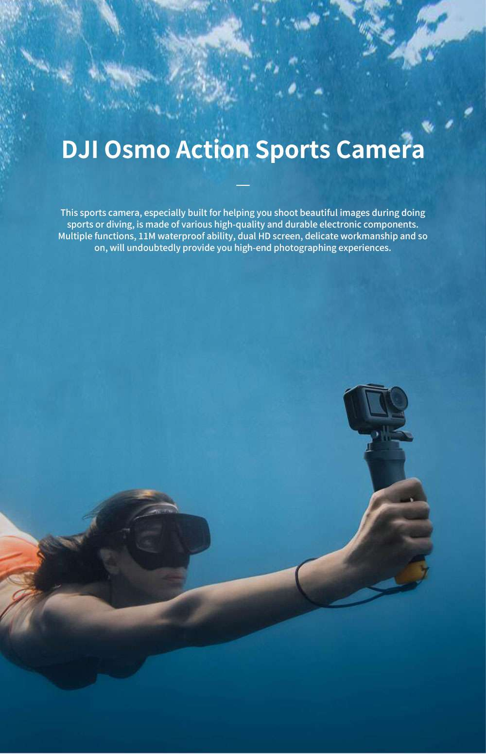 DJI Osmo Action Camera Professional Multifunctional Waterproof Sports Camera with Dual HD Screen Time-lapse Shooting Slow-motion Record Voice Control Easy Operation 0