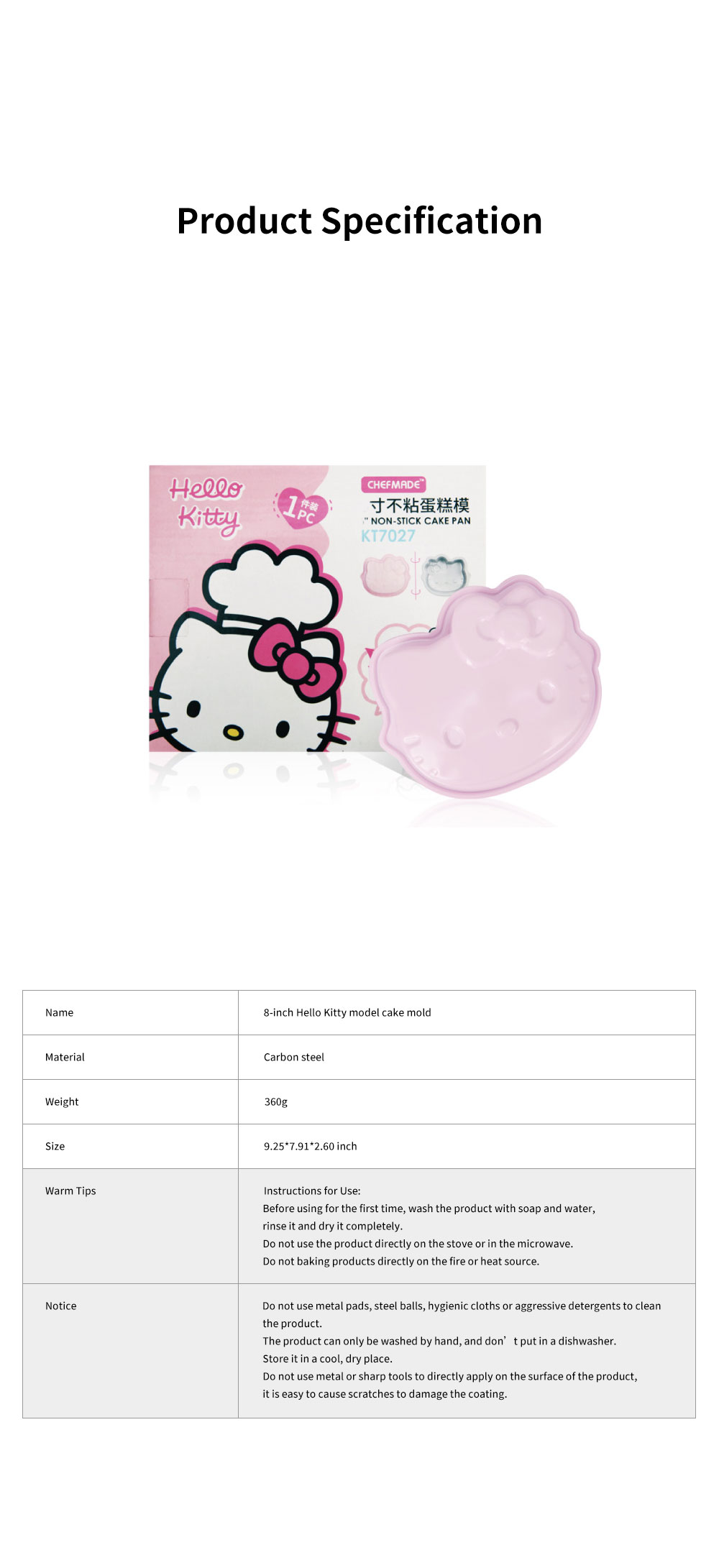 Cute Kitty Model Heat-resistance Carbon Steel 8-inch Cake Jelly Mold Kitchen Baking Assistant Stool 5