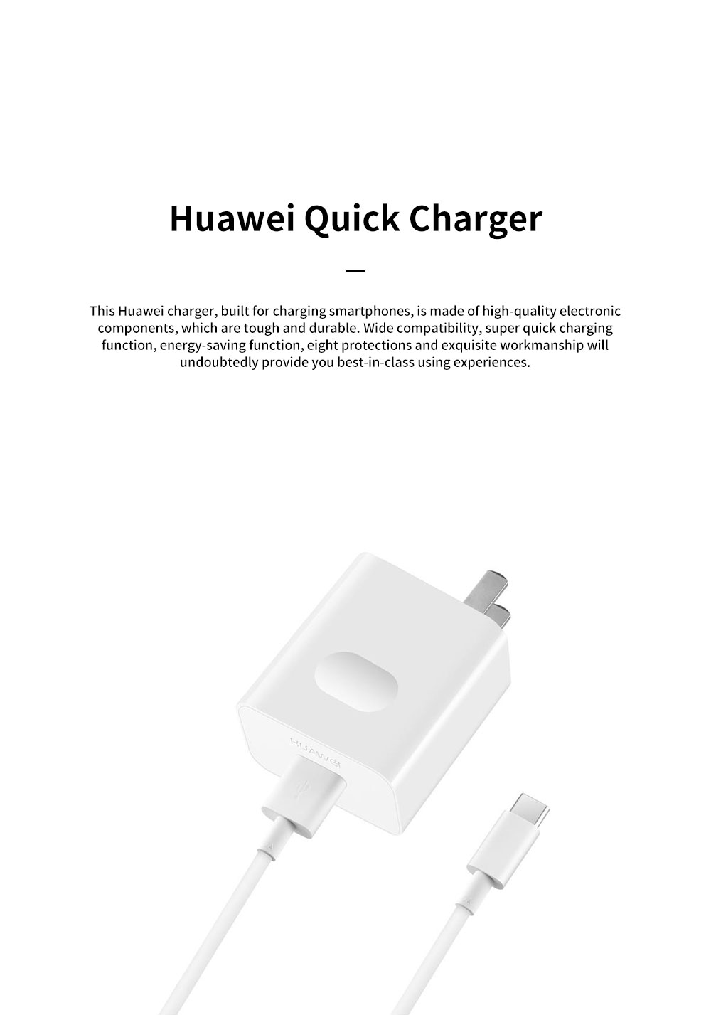 Light Portable Super Quick Charging Wide Compatibility Original Huawei Charger with 8 Protections 6-Level Energy Efficiency Standard 0