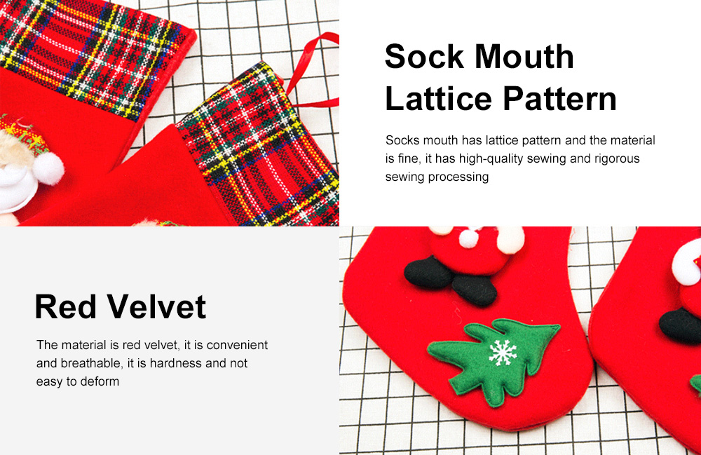 Top Selling Design Stocking Christmas Decorations Fabric Plaid Santa Claus Christmas Socks Gift Bag 4
