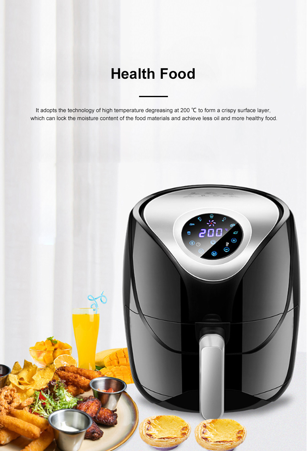 5.5L Electric Air Fryer Household Intelligent Touch Screen Multifunctional Electric Fryer No Lampblack and Chips Machine 3