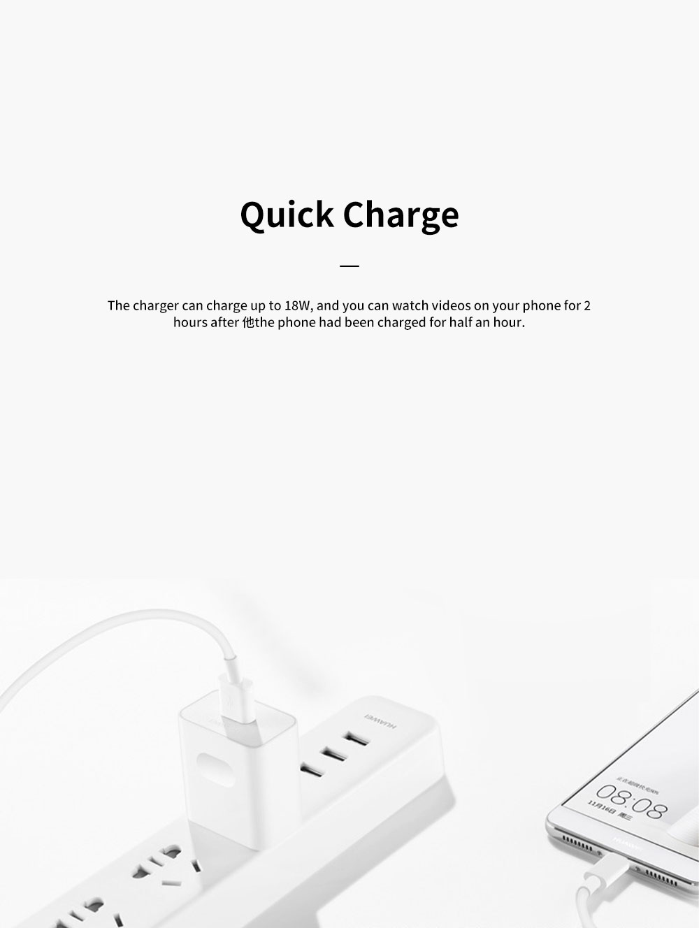 Light Portable Super Quick Charging Wide Compatibility Original Huawei Charger with 8 Protections 6-Level Energy Efficiency Standard 1